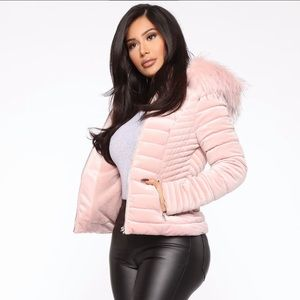 Velvet Pink Puffer Jacket with Fur Accent Hood
